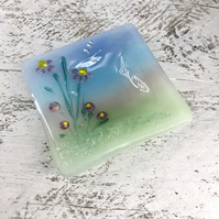 Flower Meadow Ring or Trinket Dish - Fused glass with lamp work detail