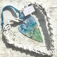 Glass Heart with Delicate Turquoise Flowers in Wicker Hanging Heart on Ribbon