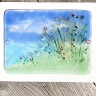 "Delicate Glass Flower Meadow Picture ""Towards the Sea"""""