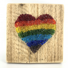 Rainbow Crushed Glass Heart on Reclaimed Wood