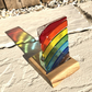 Fused Glass Rainbow Panel in a Handcrafted Oak Tea Light Holder