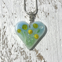Sterling Silver & Glass Meadow Heart Necklace