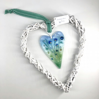 Fused Glass Heart with Delicate Blue Flowers in Wicker Hanging Heart on Ribbon