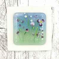 Glass Flower Meadow Picture with Pretty Pink Flowers