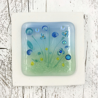Glass Flower Meadow Picture with Pretty Blue & Turquoise Flowers
