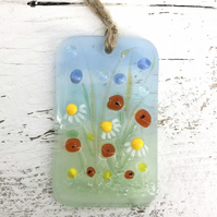 Pretty Glass Light Catcher - Wild Meadow Flowers Design