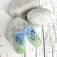 Pretty Floral Glass Drop Earrings on Silver Wires
