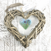Floral Glass & Wicker Heart with co-ordinating Ribbon