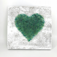 Emerald Green Crushed Glass Heart on Reclaimed Wood