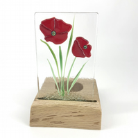 Fused Glass Poppies in a Handcrafted Oak Tea Light Holder