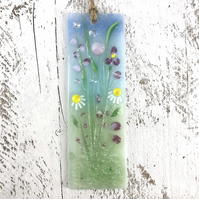 Pretty Glass Light Catcher - Pink Meadow Flower Design