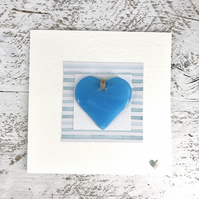 Card 'With Love' with Detachable Turquoise Glass Heart