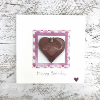 Birthday Card Detachable Pink Glass Heart