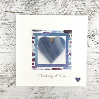 Card 'Thinking of You' with Detachable Blue Glass Heart