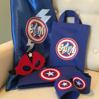 Deluxe Superhero set - personalised cape, mask, belt and cuffs in cotton bag