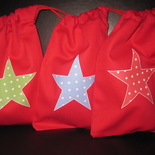 6 x ECO COTTON  STAR PARTY GIFT GOODY BAGS