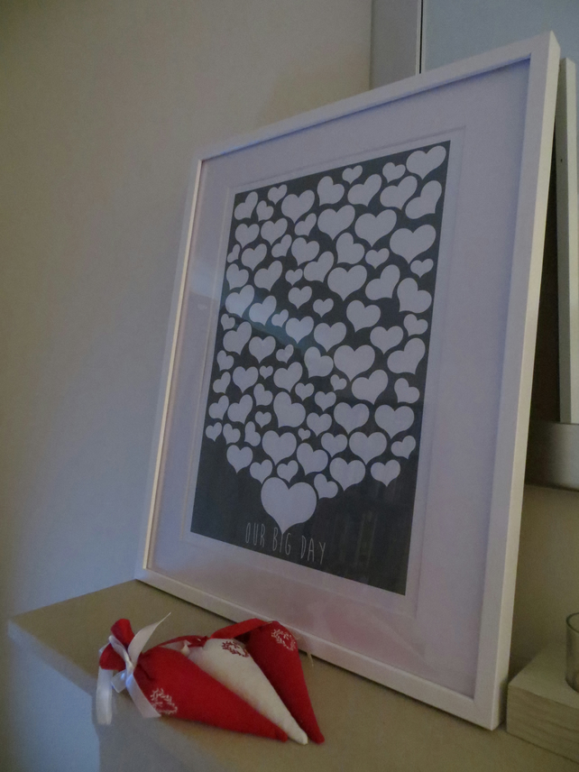 Heart Wedding Guest Book Alternative -  A3 Print