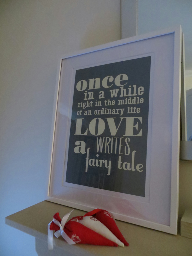 Wedding Gift - 'LOVE writes a fairy tale'  A3 Art Print