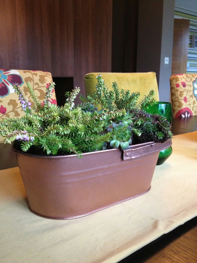 Herb Planter Table Centrepiece In Copper Metal Folksy