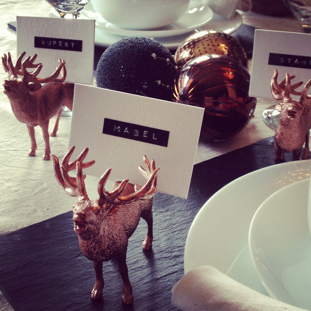 Reindeer stag name card holders in copper finish personalised for you