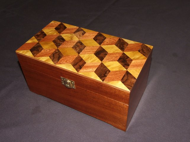 Mahogany Box with Cube Design
