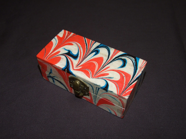 Marbled Trinket Box in Red Blue and Black