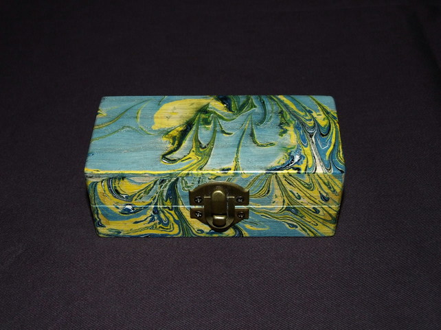 Marbled Box in Blue and Yellow