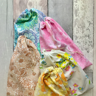 Retro Fabric Drawstring Bags - Party Bags - Storage Bags - Gift Bags