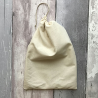 Unbleached Cotton Drawstring Bag - Small - Gift Bag - Storage