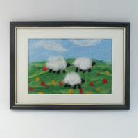 "Felted Picture ""grazing sheep"" - REDUCED"