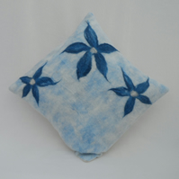 Felt Cushion Cover - nuno felted with floral detail - REDUCED