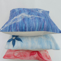 Nuno felted wool and silk blue cushion cover (pad not included) - SALE