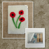 Bus Pass, business, credit card, ID holder, white with poppies - SALE
