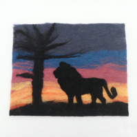 "Felted Picture ""Lion at sunset"" - REDUCED"