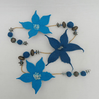 Hand Felted Flower Garland, bunting (blue)
