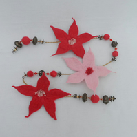 Red and Pink Felted Flower Garland
