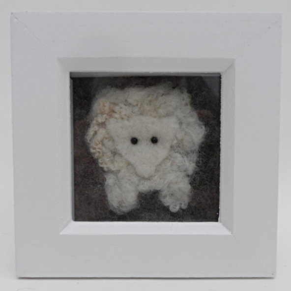 Needle felted sheep framed picture
