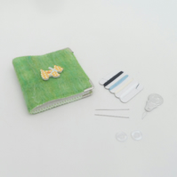 Green felted needle case, mending kit with scottie dog decoration