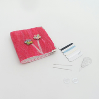 Pink felted mending kit, needle book with flower decoration