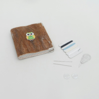 Brown felted needle book with owl decoration, sewing kit with accessories
