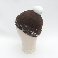 Hand felted brown beanie hat - SALE