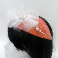 Pink nuno felted teardrop fascinator with pearl detail