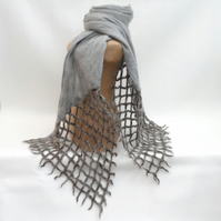 Long grey nuno felt and lattice scarf supplied with gift box