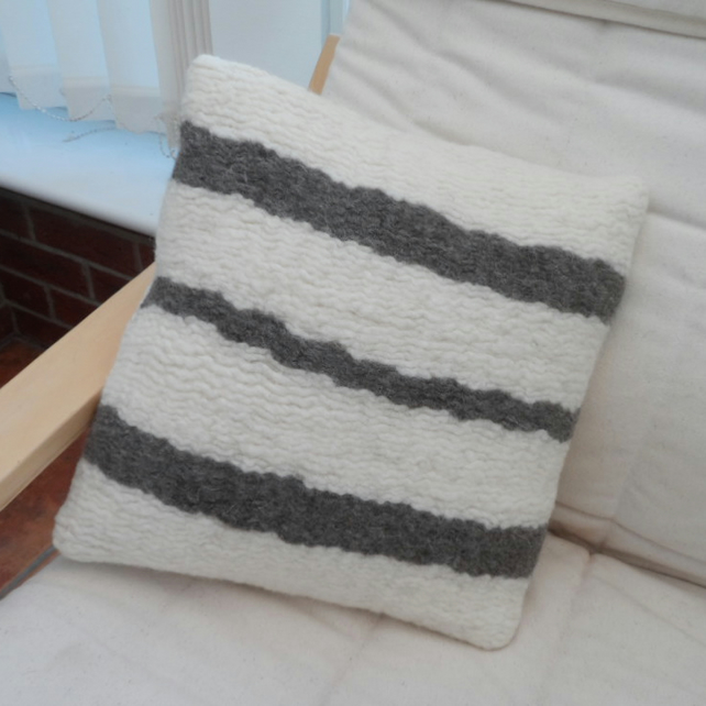 Felted woven cushion in white with grey stripes (includes cushion pad)