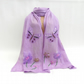 Long lilac nuno felted scarf with flowers and butterflies