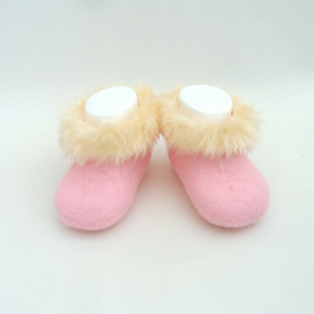 Hand felted pink perendale wool baby slippers, boots, booties