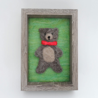 Needle Felted Teddy Nursery Picture