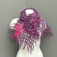 Felted lattice scarf, pink and purple with flowers