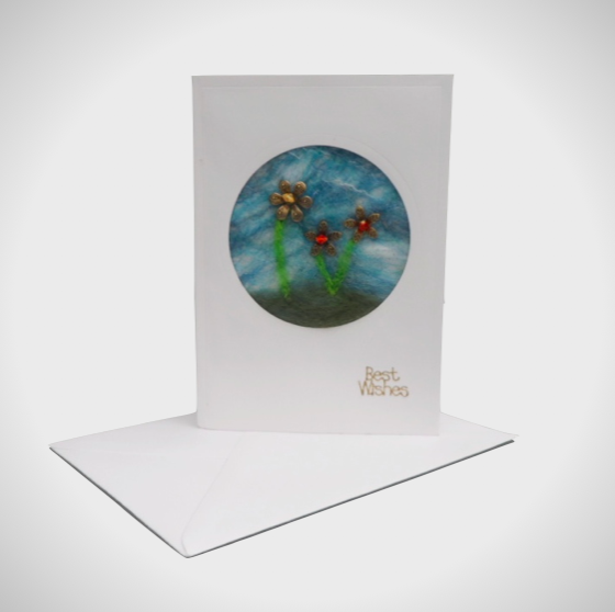 Floral greetings card, notelet with nuno felted insert