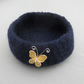 Navy blue felted crocheted bowl